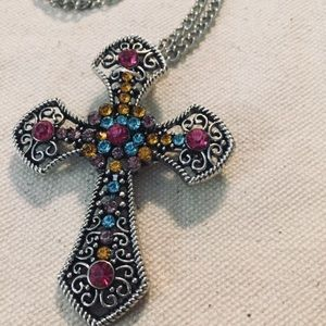 Jewelry - Magnetic Filigree Cross Necklace Converts to Pin